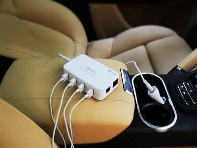 Qi-infinity Quick Charge 2.0 58 Watts 4-Ports USB Desktop and Car Charging Station 1