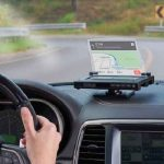 The Head Up Smartphone Navigation Display - projects directions from a smart phone onto a dashboard-mounted head up display