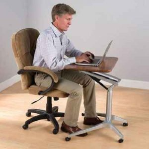The Sitting Or Standing Mobile Workstation - with pneumatic arms to easily accommodate those who want to sit or stand while working