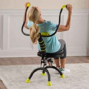 The Seated Back Strengthener - A fitness chair that lets you remain seated while stretching and strengthening back muscles in all directions