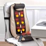 The Targeted Treatment Massage Cushion - A chair cushion that uses Shiatsu, rolling, and vibration massage to target and knead muscle pain in the upper back, lumbar, and buttocks