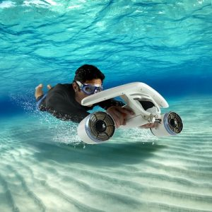 The Most Compact Underwater Scooter - propels a swimmer down to 130 feet or along the surface