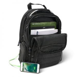 The Smartphone Charging Backpack - with 6000 mAh portable battery pack integrated into the strap
