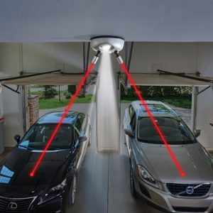 The Laser Guided Parking Attendant - With motion activated parking aide that guides two cars into a garage