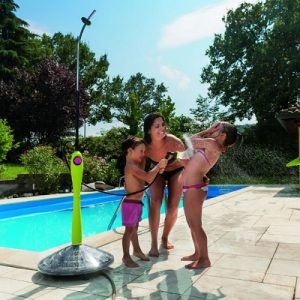 The Outdoor Solar Heated Shower - harnesses the sun's energy to warm water from a garden hose